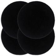 vidaXL Подложки за хранене, 4 бр, черни, 38 см, кръгли, памук
