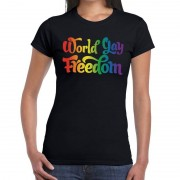 Bellatio Decorations World gay freedom gaypride shirt zwart voor dames