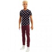 Papusa Mattle Barbie Fashionistas Papusa Ken in tricou cu buline multicolor blond