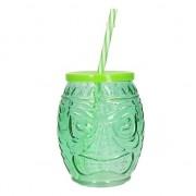 Geen Tiki glazen drinkpotje/drinkglas met deksel 550 ml groen