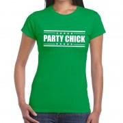 Bellatio Decorations Groen t-shirt dames met tekst Party chick M - Feestshirts