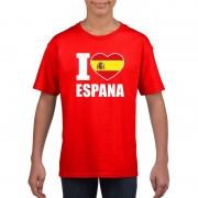 Shoppartners Rood I love Spanje fan shirt kinderen