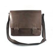 Skórzana torba na ramię, na laptopa, brązowa