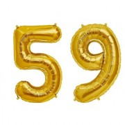 De-Ultimate Solid Golden Color 2 Digit Number (59) 3d Foil Balloon for Birthday Celebration Anniversary Parties