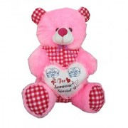 Suraj baby soft toy just for you and i love u heart teddy with checks 48cm