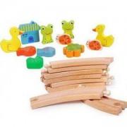 Детска дървена влакова композиция - Животни, 111670