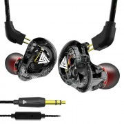QKZ VK1 Coaxial Four Elements In-ear Stereo Headphone 3.5mm Wired Earphone (with Microphone) - Black