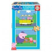 Educa Borrás - Peppa Pig - Puzzle de Madera 2x9 Piezas