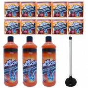 Pachet - 3 x Mr. Muscle gel pentru desfundarea tevilor din baie si bucatarie 1000 ml + 10 x Granule pentru desfundat tev