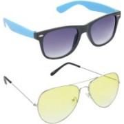 Hrinkar Wayfarer Sunglasses(Grey, Yellow)