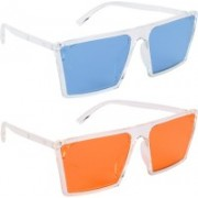 NuVew Retro Square, Wayfarer Sunglasses(Blue, Orange)