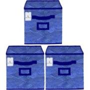 Billion Designer Laheriya Design Non Woven 3 Pieces Large Foldable Storage Organiser Cubes/Boxes (Blue) - BILLION36093 BILLION036093(Blue)