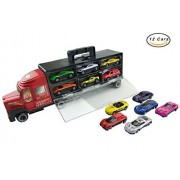 """15"""" Transporter Car Carrier Truck Vehicle Toy for Boys (Includes 12 Diecast Metal Cars)"""