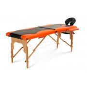 Łóżko do masażu 2 segmentowe drewniane czarno - pomarańczowe