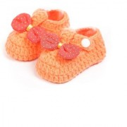 Baby Oodles Orange Crochet Art Baby Booties With Bow