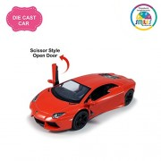 Smiles Creation Kinsmart 1:38 Scale Pull Back Action Lamborghini Aventador LP 700-4 Scissor Style Door Opening Car with Glossy Finishing Exteriors Toys, Red (5-inch)