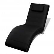 vidaXL Black Artificial Leather Chaise Longue with Pillow