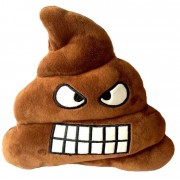 Soft Smiley Emoticon Dark Brown Cushion Pillow Stuffed Plush Toy Doll (Angry Poo)
