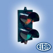 Közlekedési jelzőlámpa 2S2TL piros/zöld, polikarbonát test, ellenzővel d=200mm izzóval IP56 Elba