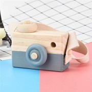 ELECTROPRIME Painted Nursery Kids Wood Camera Children Room Decor Safe Wooden Toy - Grey