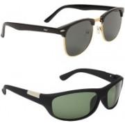 Royalmede Clubmaster, Wrap-around Sunglasses(Black, Green)