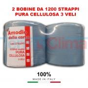 Bobine Bobina Rotolo Rotoli Di Carta 1200 Strappi Pura Cellulosa 3 Veli