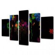 Tablou Canvas Premium Abstract Multicolor Flori Luminate Decoratiuni Moderne pentru Casa 120 x 225 cm