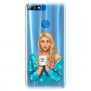 Silikonové pouzdro iSaprio - Coffe Now - Blond - Huawei Y7 Prime 2018