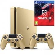 Конзола PlayStation 4 Slim, 500GB, Два геймпада, Златист+Игра DRIVECLUB PS4