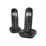 DORO PhoneEasy 110 Duo - Téléphone sans fil avec ID d'appelant/appel en instance - DECTGAP - noir + combiné supplémentaire