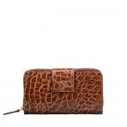 Dunkelbrauner Mock Croc Leder Damen Geldbeutel - Brieftasche, Portemonnaie, Geldbörse, Kreditkartenetui