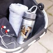 smartphoto Vattenflaska aluminium med flip lock Grå