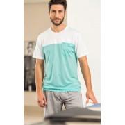 Pijama Masculino Mixte Adulto Camiseta Branca com Azul e Bermuda Azul Marinho