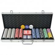 vidaXL Set de poker cu 500 jetoane laser din aluminiu