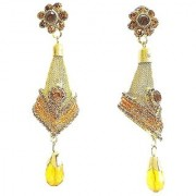 Multicoloured Gold-Plated Stone-Studded Antique Jhumka Earrings (9 cm long) - Golden
