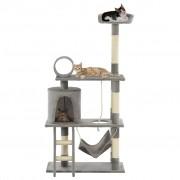 vidaXL Árvore para gatos c/ postes arranhadores sisal 140 cm cinzento