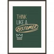 Falikép, motivációs, A3, fekete keret, PAPERFLOW \Think like a customer\