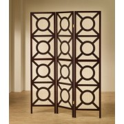 "3 panel espresso finish wood frame room divider shoji screen with circles design. measures 3 (18"" wide panels ) x 70"" h."