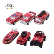 Electrobot Mini Die-cast Metal Playset Fire Fighter Vehicles Model Toys Set for Kids, ladder truck, yacht, sedan car, Van, Jeep Truck, Helicopter (FIRE)