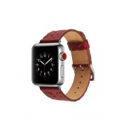 Woven Texture Genuine Leather Wrist Watch Band Part for Apple Watch Series 5 4 40mm / Series 3 2 1 38mm - Red