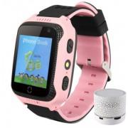 Ceas GPS Copii iUni Kid530, Touchscreen, Telefon incorporat, BT, Camera, Buton SOS, Roz + Boxa Cadou