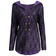 rosegal Lace Hooded Plus Size Lace-up Coat