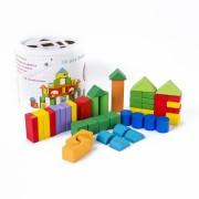 Set cuburi lemn colorate in galetusa, 50 piese.