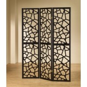 "3 panel black finish wood frame room divider shoji screen with intricate cut geometric design. measures 3 (18"" wide panels ) x 70"" h."