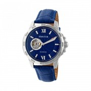 Heritor Automatic Bonavento Semi-Skeleton Leather-Band Watch - Silver/Blue HERHR5603