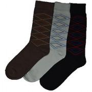 Formal Cotton Full Length Multicolor Socks For Men Pack Of 3