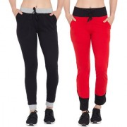 Cliths Black Grey Red Black Slim Fit Cotton Stylish Solid Joggers/ Trackpant for Women Pack of 2