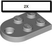LEGO 2 x 3 Coupling Plate with Hole and Curved End, Light Bluish Gray (qty 2)