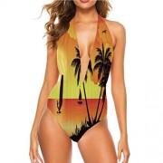 Painting-home Conjunto de bikini para mujer, palma de coco y surfista, ideal para fiestas en la piscina, Multi 01, L