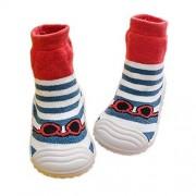 HOWELL Zapatos Infantil Baby Toddler Calcetines Zapatos de Suela de Goma Suave Algodon Transpirable Primer Caminar Calzado Antideslizante para niños Bebe niñas niños (XL(18-24M), Blue Stripe)